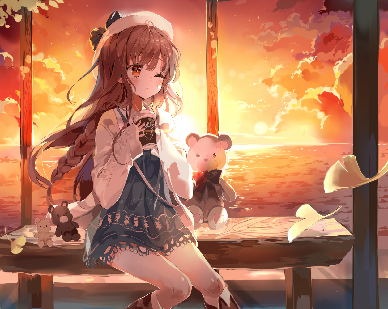 Drinking Coffee at the Sunset [Original] : animehotbeverages