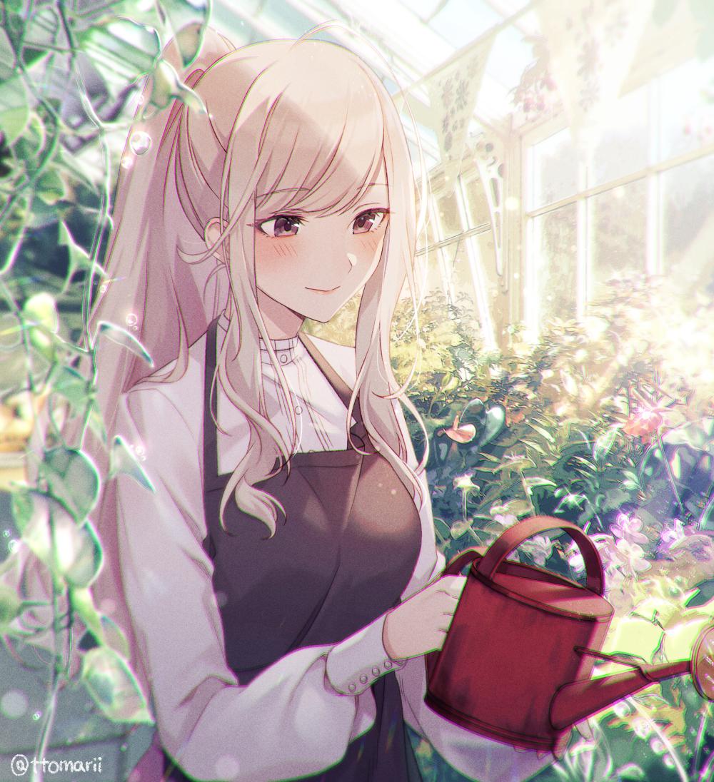 Blonde high ponytailed florist in greenhouse garden [Original]