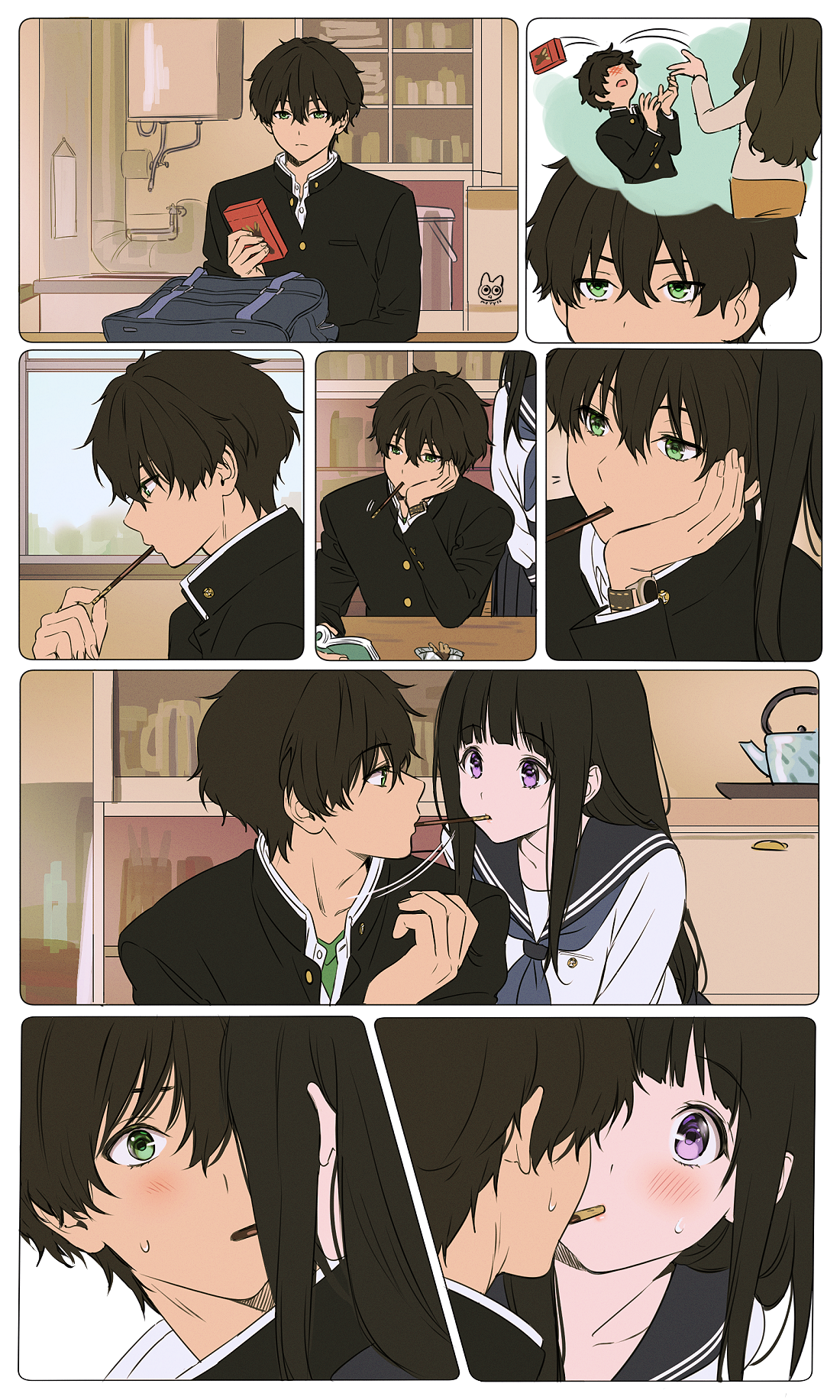 Accidental Pocky Game by mery [Hyouka]